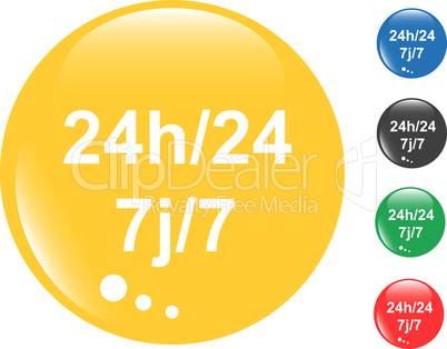 24h (24 hours) button set of colored glossy icon