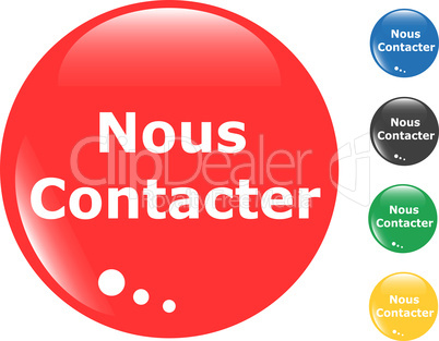 contact us set of colored button glass icon
