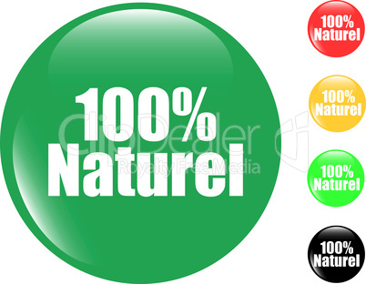 100% natural set of colored button glass icon