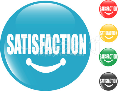 set of square button sign Satisfaction with smile lips