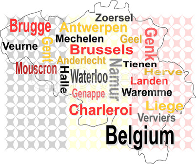 belgium map and words cloud with larger cities