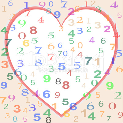 background made from colorful numbers with love heart