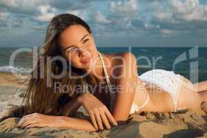 young beauty woman on sea