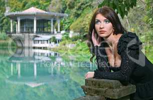beauty Brunette woman in Abkhazia forest