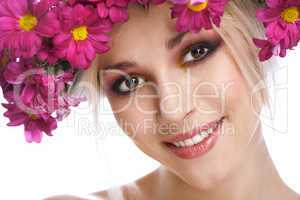 beauty woman portrait with wreath from flowers