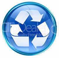 Recycling symbol icon blue, isolated on white background.