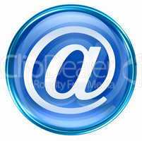 email symbol blue, isolated on white background.