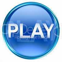 Play icon blue, isolated on white background