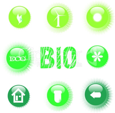 set of ecology symbol icon green button