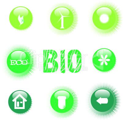 set of ecology symbol icon green button