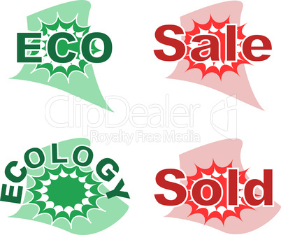 Set of sale and ecology badge icon