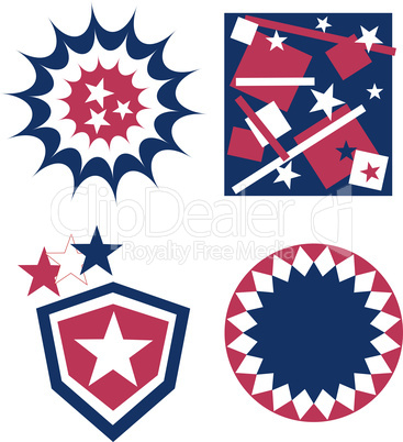 4th of july independence day rosette or badge in american flag colors set