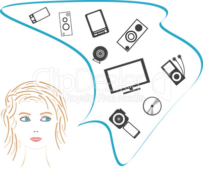 beauty girl dream about digital electronic. vector image
