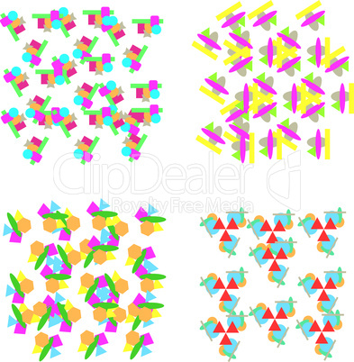 Set of repeating geometric patterns in Christmas colours