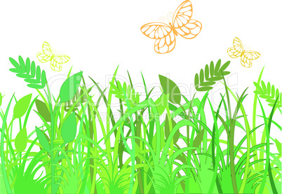 green grass with butterflies.eps
