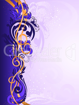 purple ornament with gold ribbons.eps