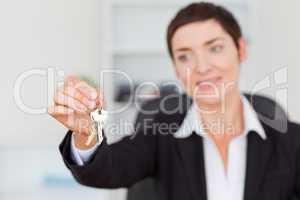 Woman showing keys
