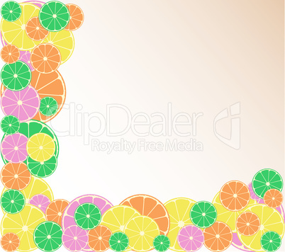 Blank made from mixed citrus fruit. Orange, lemon, lime, grapefruit background