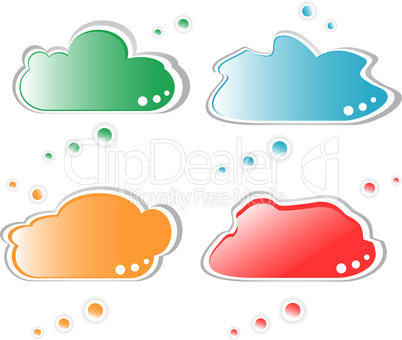 set of paper speech bubble isolated on white
