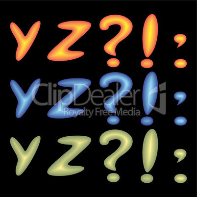 Letters YZ.