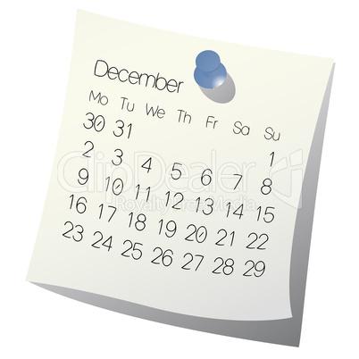 2013 December calendar