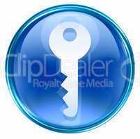 Key icon blue, isolated on white background
