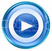 Play icon button blue, isolated on white background.