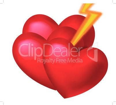 3 Herzen mit Pfeil