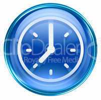 clock icon blue, isolated on white background
