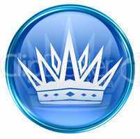 crown icon blue, isolated on white background.