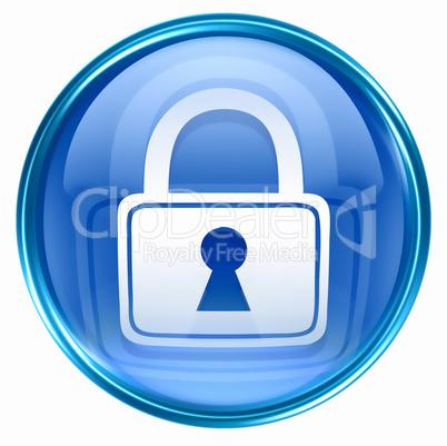 Lock icon blue, isolated on white background.