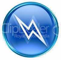 Lightning icon blue, isolated on white background.