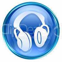 headphones icon blue, isolated on white background.