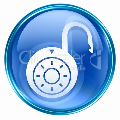 Lock on, icon blue, isolated on white background.