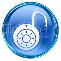 Lock on, icon blue, isolated on white background.