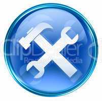 Tools icon blue, isolated on white background.