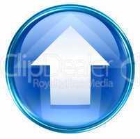 Arrow up icon blue, isolated on white background.