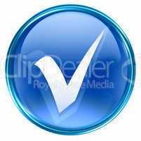 check icon blue, isolated on white background.