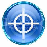 target icon blue, isolated on white background.