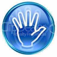 hand icon blue, isolated on white background.