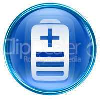 Battery icon blue, isolated on white background