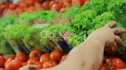 Girl arranges vegetables at the supermarket