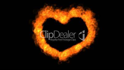 Fire love heart