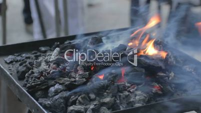 Release of heat, sparks flying up the glowing coals