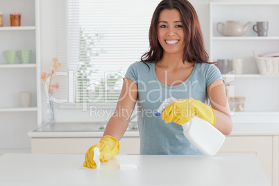 Beautiful female doing the housework while using a spray