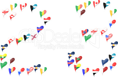 world country flag heart Number 2 3