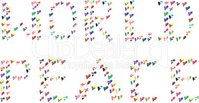 word PEACE and WORLD made from world country flag in heart
