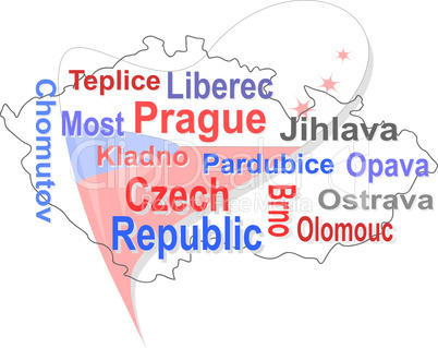 czech republic map and words cloud with larger cities