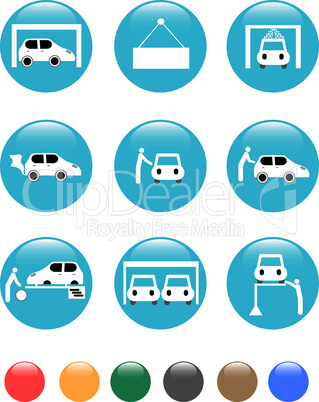 set of car Auto service blue button isolated on white