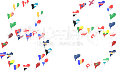 Number 8 and 9 from world country flags in heart